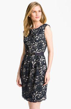 Eliza J Jewel Belted Lace Sheath Dress | Nordstrom
