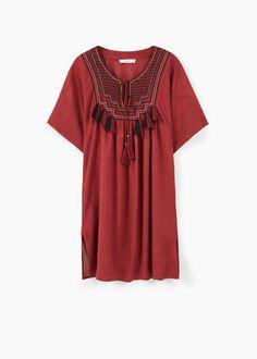 Vestido panel bordado | MANGO