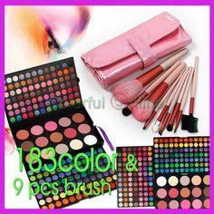 183 Color Warm EyeShadow Blush Contour Combo Palette + 9 pc brush  $29.99