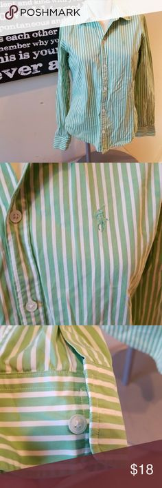 💋3/$24💋RALPH LAUREN GOLF STRIPED BUTTON DOWN Excellent condition. One buttom is chipped as shown.   💋3 for $24💋 BUNDLE any 3 items (listed 3 for $24), IGNORE the bundle price & OFFER $24 🌺See mannequin listing for size reference.   Also CHECK OUT my 🦄3 for $15🦄, ⚘3 for $50⚘ & ♥️10 for $10♥️ sale!  Why SHOP MY Closet? 💋Smoke/ Pet Free 💋OVER 1000 🌟🌟🌟🌟🌟RATINGS 💋POSH AMBASSADOR &TOP 10% Seller  💋TOP RATED 💋 FAST SHIPPER  💋BUNDLES DISCOUNT 💋EARN VIP DOLLARS W/ EVERY PURCHASE…