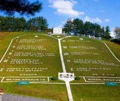 Largest Ten Commandments, Murphy, NC    A theme park featuring the Bible's greatest hits, Fields of the Wood is located 18 miles west of Murphy on NC-294. Created by the Church of God of Prophecy in the 1940s, this supersized tribute features the Ten Commandments on a hillside (reminiscent of the Hollywood sign), an 80-foot altar, a 50-foot-wide concrete Bible, a baptismal swimming pool, and a replica of Christ's tomb.
