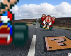 Game sprites from Super Mario Kart mixed into a realistic setting Retro Race 'Mario Kart' Street Fighter 2, Link Zelda, Retro Video Games, Video Game Art, Sprites, Top Photos, Super Mario Kart, Gamers, Old Games