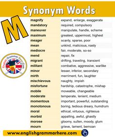 English Synonym Vocabulary List, Synonym Words Start With M in English Vocabulary List, English Vocabulary Words, Learn English Words, English Grammar, English English, Antonyms Words List, Opposite Words List, Personality Adjectives, Feeling Words List