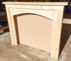 DIY Faux Fireplace Mantel DIY Faux Fireplace<br> Want a mantel to decorate with the seasons? Don't have a fireplace in your home? Then you'll love this diy faux fireplace project! Faux Fireplace Mantels, Faux Mantle, Fireplace Mirror, Small Fireplace, Fireplace Surrounds, Fireplace Design, Fireplace Ideas, Pallet Fireplace, Primitive Fireplace