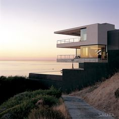 Coastal house, sundown