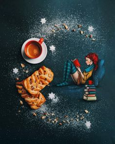 My kind of break. A sweet moment to taste slowly the litlle things. A coffee, a book.