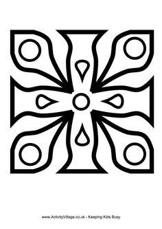 Another rangoli design for colouring in or crafts. How about getting the whole class to do one of these and then displaying them on the wall like a patchwork quilt? Or choosing a few to tape to the floor near the classroom door each day. Rangoli Patterns, Rangoli Designs, Types Of Craft, Simple Rangoli, Colouring Pages, Coloring, General Crafts, Classroom Displays, Easy Drawings
