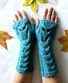 Owl Turquoise Blue Long Hand Knitted Arm Warmers by NastiaDi