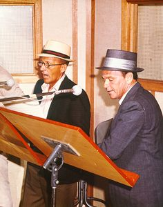 Frank Sinatra and Bing Crosby recording for Reprise Musical Repertory Theatre