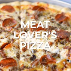 Meat Lovers Pizza is packed full of sausage, pepperoni, and bacon and satisfies every meat lover on your list. Perfect for family movie nights! Sausage Pizza Recipe, Meat Pizza Recipes, Meat Lovers Pizza, Bacon Pizza, Bacon Recipes, Pizza Pizza, Fun Baking Recipes, Cooking Recipes, Making Homemade Pizza
