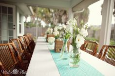{Real Parties} Blue & Orange Whale Baby Shower! | The TomKat Studio   I like the flower set up