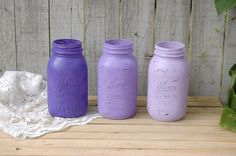 Hey, I found this really awesome Etsy listing at https://www.etsy.com/listing/191232426/painted-mason-jars-shabby-chic-purple