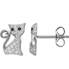 Cubic Zirconia 18k White Gold Over Silver Cat Stud Earrings (Black) ($125) ❤ liked on Polyvore