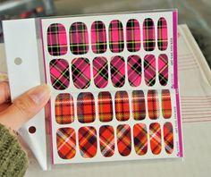 nail sticker,Plaid Nial Wrap, Nial Decal, Pink Plaid, Red Plaid, Water Decal, Nail Stickers,Full Nail wraps,Nail Art,Nail decoration