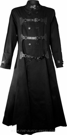 Long black gothic coat by Hard Leather Stuff, with strap and buckle detail.