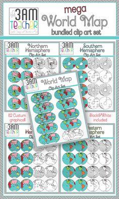 World Maps Mega Bundle! Over 80 Custom graphics!! Save over 40% when you purchase my Mega Savings Bundle!! $9
