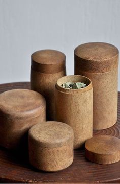 An idea that connects: Nexsys from Kaldewei - wooden containers - Tee Design, Wood Design, Deco Ethnic Chic, Bamboo Containers, Storage Containers, Storage Jars, Storage Boxes, Bathroom Containers, Spice Storage