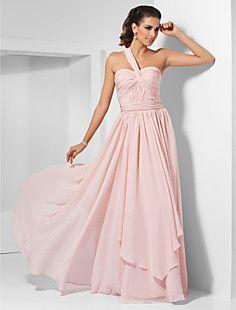 A-line One Shoulder Floor-length Chiffon Evening/Prom Dress  – USD $ 88.49