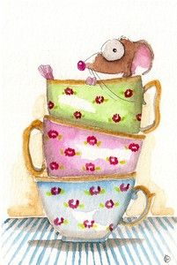 Three cups high, the perfect place for a nap. Original watercolor $8.00