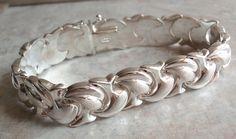Sterling Silver Bracelet Fancy Puffy Textured Link Vintage V0067