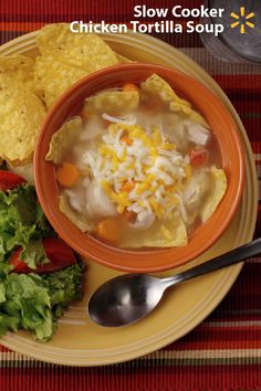 Delicious, satisfying, & so easy to make! This Chicken Tortilla Soup slow cooker recipe will become one of your go-to meals for busy days. Affordable, full of flavor and just 15 minutes prep time. With chicken thighs, diced tomatoes, green chiles, onions, carrots and spices on top of a crunchy bed of tortillas, your family will love digging into a bowl of this on a cold day. Get everything you need in one trip to Walmart, prep and your Crock Pot does the rest. Discover more Simple Meals reci...