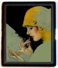 Art Deco Flapper Girl, Dirty Thirties Lipstick Compact Design, Black Metal Cigarette or ID Business Card Holder Case Wallet  sweetheartsinner