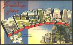 "1940s Large Letter ""Greetings from Michigan"""