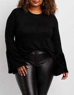 6be059e7635 Plus Size Velvet Bell Sleeve Top