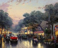 """Carmel by the Sea, Dolores Street and the Tuck Box Tea Room"" was released in June of 1991. It is noted as one of Thom's ""favorite coastal villages this side of England."" This painting features the famous Tuck Box Tea Room on the right which is a local favorite. Thom used his artistic license to widen this street He added older model cars and a flower vendor for nostalgic reasons and added European flair."