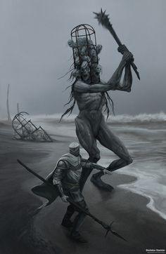 Dead giant by Sherbakov Stanislav on ArtStation. Monster Concept Art, Monster Art, Dark Creatures, Fantasy Creatures, Arte Horror, Horror Art, Dark Fantasy Art, Fantasy Artwork, Fantasy Character Design