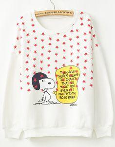 White Long Sleeve Stars Snoopy Print Sweatshirt US$27.54