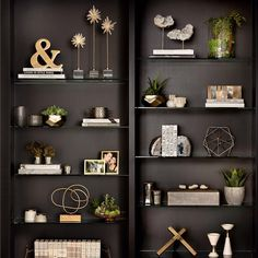 With our unique selection of accessories, frames, books and faux plants, we've got your shelves covered. Living Room Shelves, Living Room Decor, Bedroom Decor, Decorating Bookshelves, Bookshelf Styling, Decoration Table, Home Office Decor, Home Decor Accessories, Home Remodeling