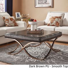 Solene X Base Square Ottoman Coffee Table - Champagne Gold by iNSPIRE Q Bold ([Dark Brown PU]- Smooth Top), Size Large (Fabric)