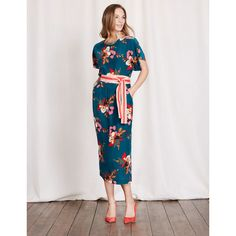 Boden Robyn Dress ($308) ❤ liked on Polyvore featuring dresses, blue painted floral, blue vintage dress, kimono-sleeve dress, sleeved dresses, long-sleeve floral dresses and floral print dress
