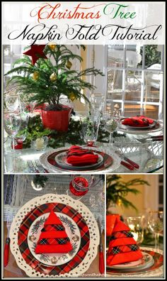 Christmas Tree Napkin Fold Tutorial (I just tried this and it actually worked!)