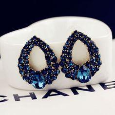 뜨거운 판매 여성의 럭셔리 기질 블루 크리스탈 물방울 스터드 귀걸이 점 이제 E219
