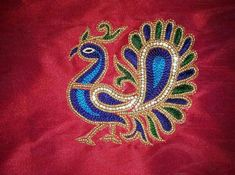 Peacock Blouse Designs, Peacock Embroidery Designs, Simple Blouse Designs, Peacock Design, Aari Embroidery, Hand Work Embroidery, Embroidery Patterns, Kutch Work Designs, Hand Work Blouse Design
