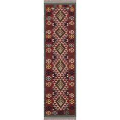 petite Kilim Jeraldin Beige/Red Hand-Woven Wool Rug x - 2 ft. 9 in. X 9 ft. 9 in.