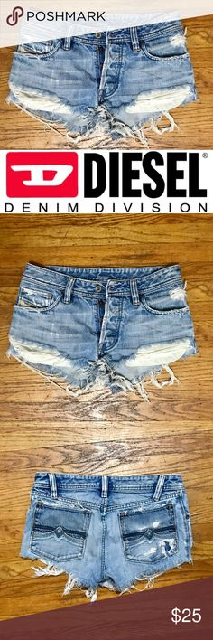 Short Cut-Off Shorts from Diesel Super cute short shorts from Diesel, cut off and distressed, 100% cotton, button-fly, exposed pockets. Cut shorter in the front so they make your legs look super long. They are tagged as a 29 but they fit more like a 27 or 28. Diesel Shorts Jean Shorts