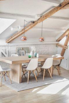 Dinning room, white, wooden, copper lights