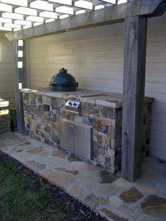 Outdoor Kitchen Ideas on a Budget, Outdoor Patio Kitchen Ideas, Outdoor Kitchen Wall Ideas Big Green Egg Outdoor Kitchen, Big Green Egg Table, Patio Kitchen, Outdoor Kitchen Design, Green Eggs, Covered Outdoor Kitchens, Outdoor Living Rooms, Backyard Projects, Backyard Ideas