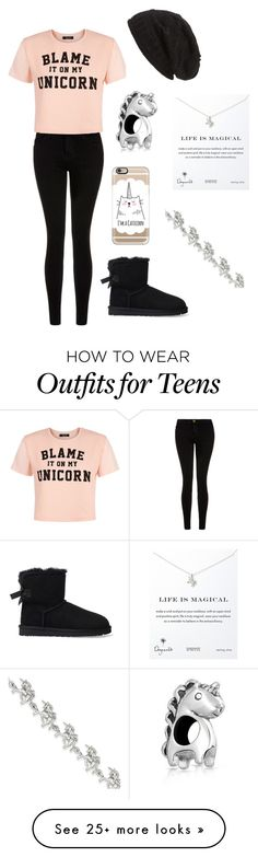 """Blame it on my unicorn"" by pugsrool on Polyvore featuring Current/Elliott, UGG Australia, Casetify, Bling Jewelry, Dogeared, Kevin Jewelers, David & Young, women's clothing, women's fashion and women"