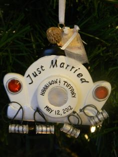 Personalized wedding ornament - names and wedding hand personalized on the ornament.  Great gift idea for your guests!