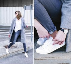 Katarina V. - Grey and grey. Wool Coat, White Jeans, About Me Blog, Grey, Sneakers, Casual, Trainers, Minimal, Shirts