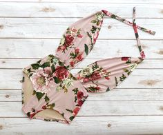 ❤ High Waisted One Piece Swimsuit - Handmade in a Vintage Inspired Design - This is Such a Figure Flattering Swimming Costume! ❤ ❤ In Beautiful Dusky Pink, White and Green Vintage Floral Print ❤ ❤ Stunning Plunge Design Bathing Suit ❤ This swimsuit is everything that swimwear should
