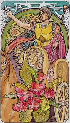 VII. The Chariot: Art Nouveau Tarot