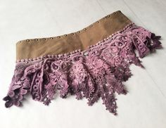 Dusty Rose, Hand Dyed, Lace/Crochet & Studded Leather, Festival/Performance, Skirt/Belt with Tassels, Burner, Bohemian, Gypsy, Tribal, Dance