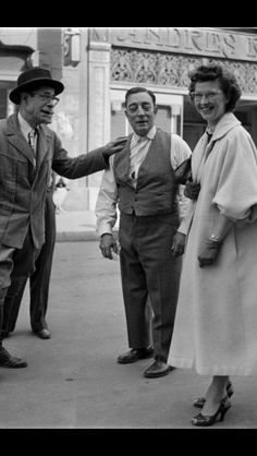 Buster with costar Joe E Brown and Eleanor on the set of The Silent Partner