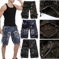 Kup si Tide Men Five Pants Cotton Mid-pants Multi-pocket Pants Camouflage Tooling Pants Cargo Shorts za Wish - Nakupování je zábava