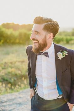 Suspenders + polka dot bow tie | Image by L&V Photography